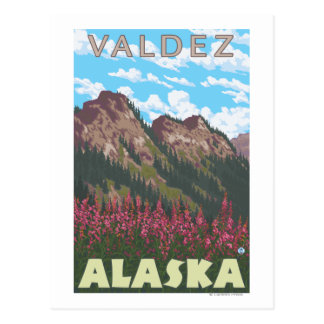 Fireweed & Mountains - Valdez, Alaska Postcard