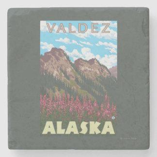 Fireweed & Mountains - Valdez, Alaska Stone Coaster