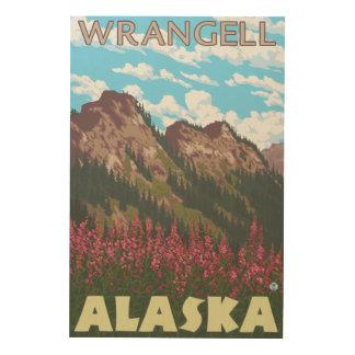Fireweed & Mountains - Wrangell, Alaska Wood Wall Art