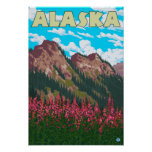 Fireweed with Mountains Vintage Travel Poster