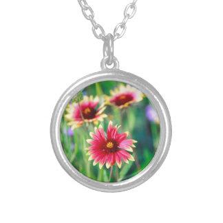 Firewheel Wildflowers Round Pendant Necklace