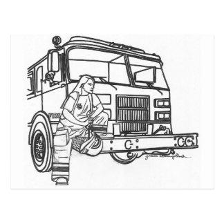 Firewoman Postcard