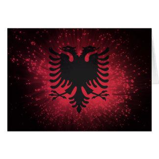 Firework; Albania Flag Greeting Card