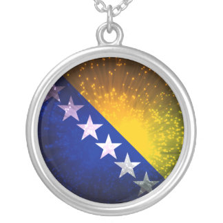 Firework; Bosnia Flag Silver Plated Necklace