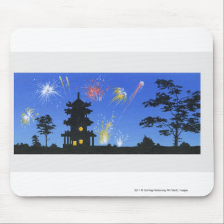 Firework display and silhouette of pagoda mouse mat