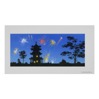 Firework display and silhouette of pagoda poster