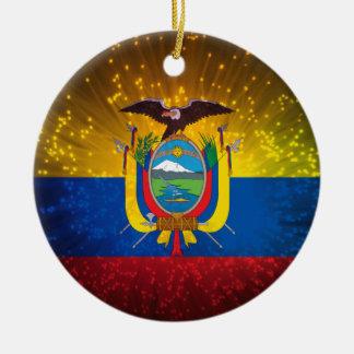 Firework; Ecuador Flag Christmas Ornament