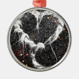 Firework night sky heart design Silver-Colored round decoration