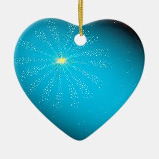 Firework On Blue Ceramic Heart Decoration