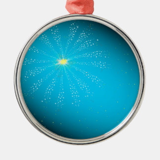 Firework On Blue Silver-Colored Round Decoration