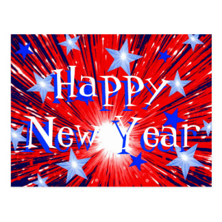 Firework Red White Blue 'Happy New Year' postcard