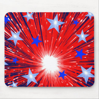 Firework Red White Blue mousepad