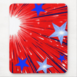 Firework Red White Blue mousepad portrait