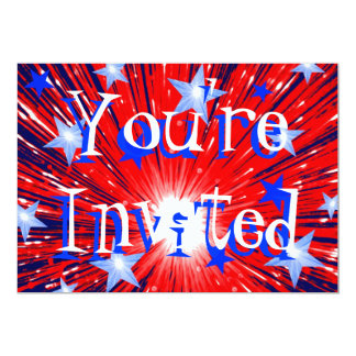 Firework Red White Blue 'Party'  invitation