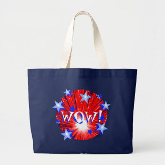 Firework Red White Blue Round 'WOW!' tote bag