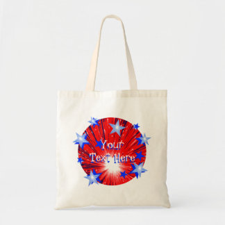 Firework Red White Blue Round 'Your Text' bag
