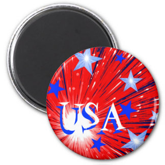 Firework Red White Blue 'USA' fridge magnet