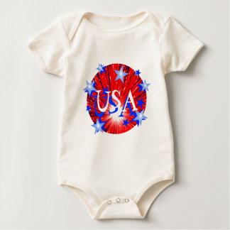Firework Red White Blue 'USA'  infant creeper