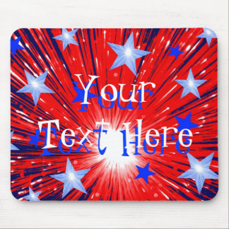 Firework Red White Blue 'Your Text' mousepad