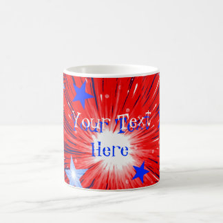 Firework Red White Blue 'Your Text' mug