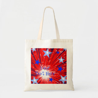 Firework Red White Blue 'Your Text' tote bag
