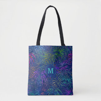 Fireworks 4th of July Colorful Summer Monogrammed Tote Bag