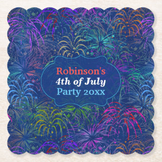 Fireworks 4th of July Party | Personalized Summer Paper Coaster