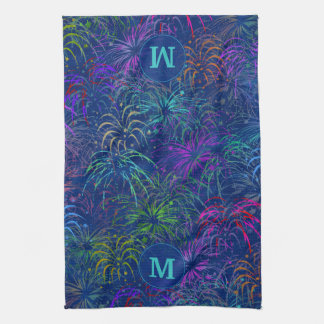Fireworks 4th of July Summer Pattern | Monogrammed Hand Towels