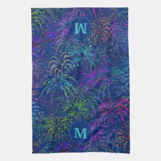 Fireworks 4th of July Summer Pattern | Monogrammed Tea Towel