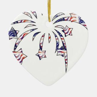 Fireworks America USA National Flag Independence D Ceramic Heart Decoration