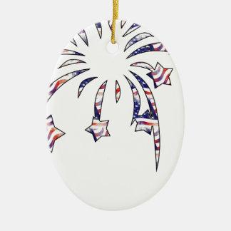 Fireworks America USA National Flag Independence D Ceramic Oval Decoration