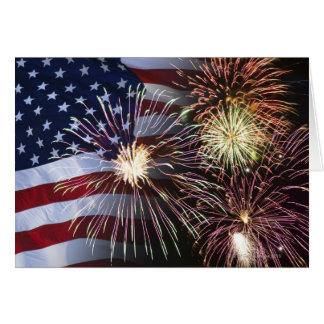 Fireworks and American flag Card