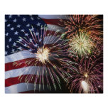 Fireworks and American flag Poster