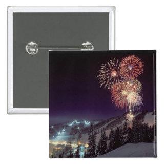 Fireworks at Big Mountain Resort in Whitefish, 15 Cm Square Badge