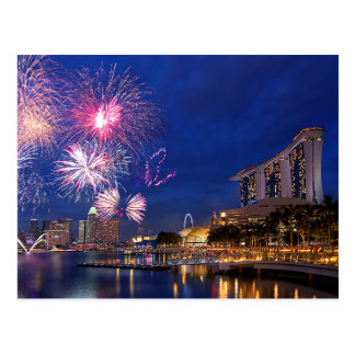 Fireworks at Marina Bay, Singapore Postcard