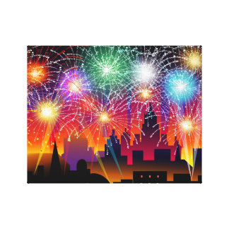 Fireworks at Night on Cityscape Gallery Wrap Canvas