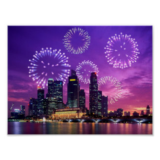 Fireworks at night poster