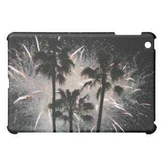 Fireworks behind palm  trees iPad mini case