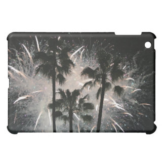 Fireworks behind palm  trees iPad mini cover