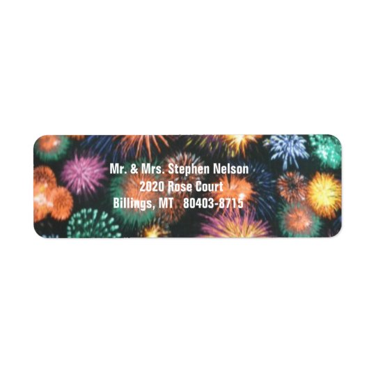 Fireworks Bursting in the Night Sky Return Address Return Address Label