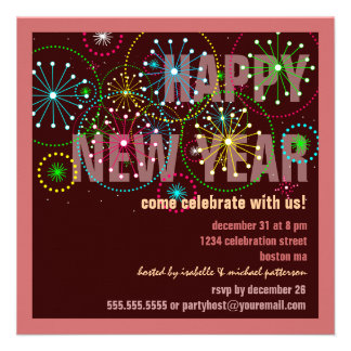 Fireworks Celebration for New Years Eve Party Personalized Announcements