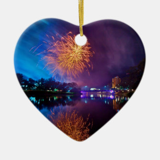 Fireworks Ceramic Heart Decoration