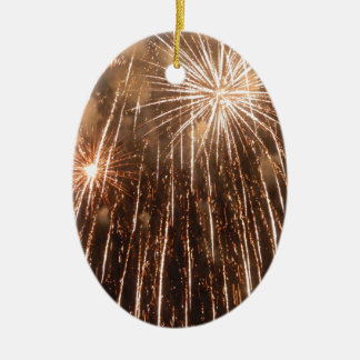 Fireworks Ceramic Oval Decoration