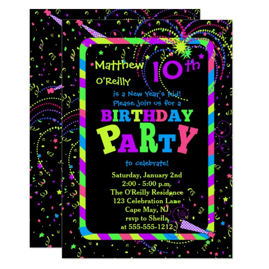 Fireworks Confetti New Year's 10th Birthday Party Card