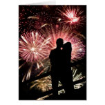 Fireworks Couple Kissing Silhouette