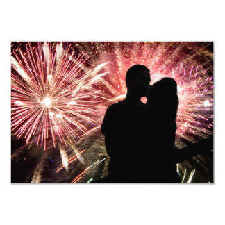 Fireworks Couple Kissing Silhouette Card