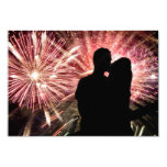 Fireworks Couple Kissing Silhouette Custom Invitations