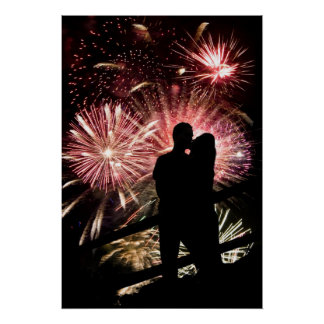 Fireworks Couple Kissing Silhouette Print