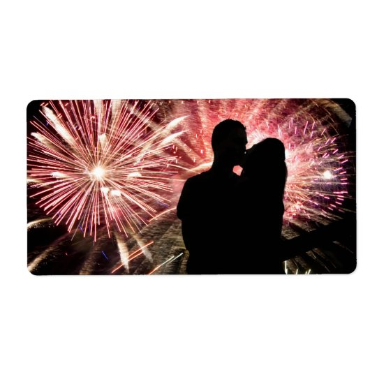 Fireworks Couple Kissing Silhouette Shipping Label