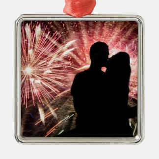 Fireworks Couple Kissing Silhouette Silver-Colored Square Decoration